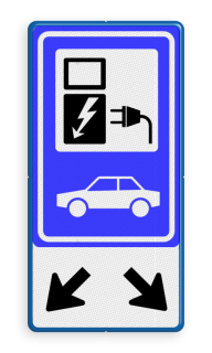 Verkeersbord Parkeerplaats met oplaad punt - Parkeergelegenheid alleen bestemd voor elektrische voertuigen Verkeersbord RVV E08 - oplaadpunt + pijlen - BE04b Wit / blauwe rand, (RAL 5017 - blauw), BW101 SP19 - autolaadpunt, autolaadpunt, na 25 km, oplaadpalen, oplaadpaal, BE04