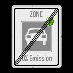 Zonebord einde ZERO Emissie - milieuzone Milieu, zone, 0%, emision,