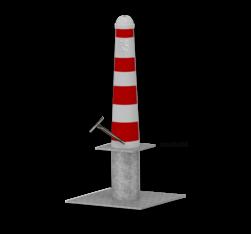 Hagenaartje Ø164x750mm met grondstuk - RAL9016-rode banen inclusief wapen haagse paal, den haag, ooievaar, stoeppaal, trottoirpaal, afzetpaal