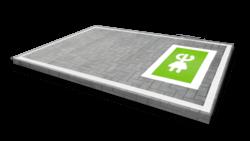 Wegmarkering - Oplaadpunt vak groen/wit (E-stekker) wegmarkering, grondmarkering, vloermarkering, vloer, markering, weg, grond, opladen, oplaad, elektrisch, parkeren, wegenverf, thermoplast, groen, blauw, parkeervak, belijning, symbool, pictogram, markeer, terrein, vloer, parkeergarage, garage