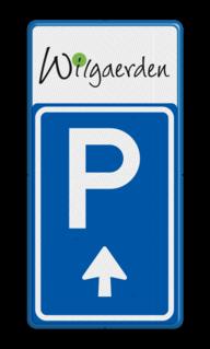 Product LET OP! Het getoonde bord is een voorbeeld, en kan NIET zo besteld worden. Hierop rust auteursrecht. U kunt uw eigen ontwerp aanleveren. Bewegwijzering parkeerplaats + logo | BW201 + pijlfiguratie Wit / blauwe rand, (RAL 5017 - blauw), BEW201, grolsch