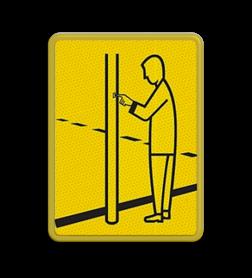 Verkeersbord Model VR03 geel/zwart - 200x270mm - Voetgangers Fluor geel / gele rand, (RAL 1023 - geel), Hier uw eigen, tekstregels, klik op bewerken >