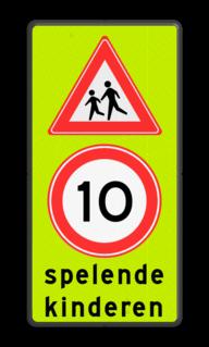 Verkeersbord Spelende kinderen + maximumsnelheid Verkeersbord Spelende kinderen RVV J21 + A1-10 school, spelende kinderen, matig uw snelheid, overstekende kinderen, J21, 10km, L303