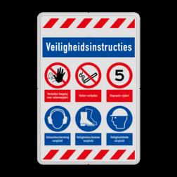 Veiligheidsbord | 6 symbolen + banners veiligheidsbord, bewerken, gevaar, licht, ontvlambaar, vuur, vlammen, waarschuwing, milieu, explosie, reflecterend, helm, verplicht, gehoorbescherming, combinatie, laarzen, schoeisel, roken, snelheid, stapvoets, verboden, toegang, onbevoegden, bouwterrein, betreden,eigen, risico