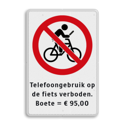Verkeersbord Verkeersbord telefoongebruik, appen en bellen verboden tijdens het fietsen Verkeersbord - Telefoongebruik op fiets verboden