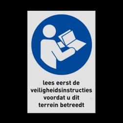Gebodsbord M002 - Lezen veiligheidsinstructies verplicht veiligheidsbord, gebod, geboden, instructies, lezen, terrein, betreden, nen, iso, normen, verplicht, wetgeving, symbool, pictogram,