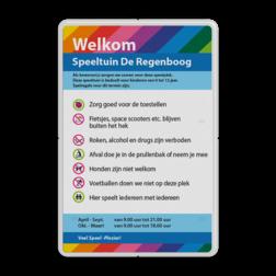 Informatiebord huisregels + logo full-colour opdruk logobord, eigen ontwerp, schoolplein, speciale borden, speeltuin, huisregel, spelregel, bord