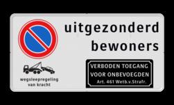Product Parkeerverbod RVV E01 + uitgezonderd bewoners + verboden toegang Parkeerverbod RVV E01 + Tekst + 2x picto Parkeerverbod, E1, verboden, parkeren, onbevoegden, artikel, 461, uitgezonderd