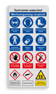 Veiligheidsbord | 12 symbolen + banners veiligheidsbord, bewerken, gevaar, licht, ontvlambaar, vuur, vlammen, waarschuwing, milieu, explosie, reflecterend, helm, verplicht, gehoorbescherming, combinatie, laarzen, schoeisel, roken, snelheid, stapvoets, verboden, toegang, onbevoegden, bouwterrein, betreden,eigen, risico, vallen, uitglijden, voorwerpen, klem, beknelling, calamiteit
