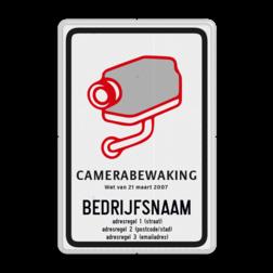 Camerabord CAMERABEWAKING conform Belgische wetgeving & richtlijnen. Camerabord België + bedrijfsgegevens privé terrein, verboden
