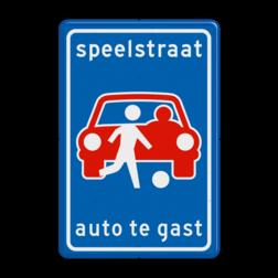 Verkeersbord L53b - Speelstraat (niet officieel) speelstraat, auto, te, gast, spelende, kinderen
