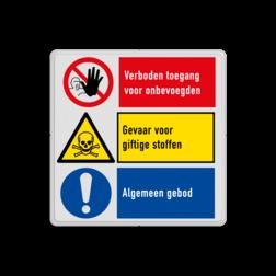 Veiligheidsbord | 3 symbolen met instructie Wit, (RAL 9016 - wit), PAS OP!, Terrein betreden op eigen risico, Verboden toegang Art 461, , W002 - Gevaar voor explosieve stoffen, P003 - Vuur, open vlam en roken verboden, M003 - Gehoorbescherming verplicht