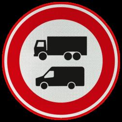 Verkeersbord Verboden voor vrachtverkeer (en bestelbusjes) Verkeersbord - Verboden voor vrachtverkeer (en bestelbusjes) verboden, rijden, vrachtverkeer, bestelbusjes