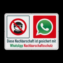 Diese Nachbarschaft ist gesichert mit WhatsApp Nachbarschaftsschutz - Verkehrsschild L207 diefstalborden, auto op slot, buit eruit, politieborden, niets erin, niets eruit, autodiefstal, autoinbraak, OV415, buurtpreventie, preventie, buurt, Dieser, nachbarschaft, ist, gesichert, mit,WhatsApp, Nachbarschaftsschutz