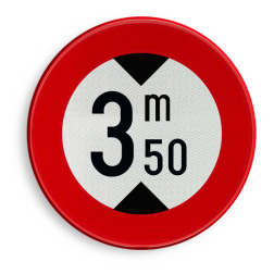 Verkeersbord C29: Verboden toegang voor bestuurders van voertuigen waarvan de hoogte, lading inbegrepen, groter is dan het aangeduide Verkeersbord België C29 - Verboden toegang voor bestuurders van voertuigen waarvan de hoogte, lading inbegrepen, groter is dan het aangeduide C29 verbodsbord, C29, hoog, lengte