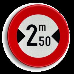 Verkeersbord C27: Verboden toegang voor bestuurders van voertuigen waarvan de breedte, lading inbegrepen, groter is dan het aangeduide Verkeersbord België C27 - Verboden toegang voor bestuurders van voertuigen waarvan de breedte, lading inbegrepen, groter is dan het aangeduide C27 verbodsbord, c18, voortuigen, meter, breed