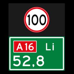 Hectometerbord Hectometerbord Hectometerbord BB08 Li met A01100 BB08-01l-100