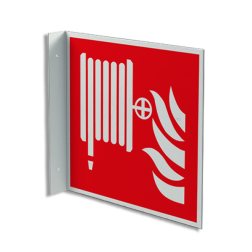 Product Blusslang Haaks bord F002 - Blusslang F002 Brand, trap, locatie, vuur, blussen, vluchten, brandblusapparaat, blusmiddel, Blusapparaatpicto, Brandbestrijdingsteken, brandbestrijdingspicto, poederblusser, schuimblusser, Koolzuursneeuwblusser