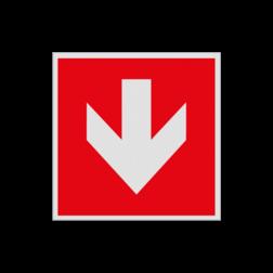 Product Richting Hulpmiddelen Haaks bord F000 - Pijl Beneden F000 Brand, trap, locatie, vuur, blussen, vluchten, brandblusapparaat, blusmiddel, Blusapparaatpicto, Brandbestrijdingsteken, brandbestrijdingspicto, poederblusser, schuimblusser, Koolzuursneeuwblusser
