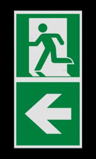 Product Nooduitgang links met pijl Haaks bord E001 - Nooduitgang links met pijl E001 Nooduitgang, vluchtroute, route, deur, rechts, vluchtroutebord, reddingsmiddelbord, evacuatie, evaluatiebord