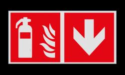Product Blusapparaat verwijzing Haaks bord F001 - Richting blusapparaat F001 Brand, trap, locatie, vuur, blussen, vluchten, brandblusapparaat, blusmiddel, Blusapparaatpicto, Brandbestrijdingsteken, brandbestrijdingspicto, poederblusser, schuimblusser, Koolzuursneeuwblusser