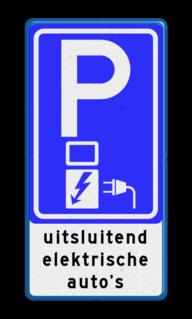 Verkeersbord Parkeerplaats + oplaadpunt voor elektrische auto's Verkeersbord RVV E08o - oplaadpunt + tekst - BE04c BE04c E08o - oplaadpunt -, uitsluitend, elektrische, auto's, BW101 SP19 - autolaadpunt, autolaadpunt, oplaadpalen, oplaadpaal, BE04