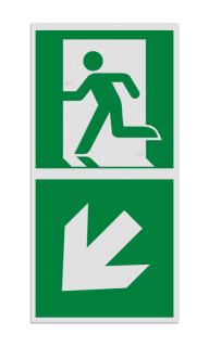 Product Nooduitgang links naar beneden met pijl Haaks bord E001 - Nooduitgang links naar beneden met pijl E001 Nooduitgang, vluchtroute, route, deur, rechts, vluchtroutebord, reddingsmiddelbord, evacuatie, evaluatiebord