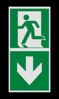 Product Nooduitgang naar beneden met pijl Haaks bord E001 - Nooduitgang naar beneden met pijl Nooduitgang, vluchtroute, route, deur, rechts, vluchtroutebord, reddingsmiddelbord, evacuatie, evaluatiebord