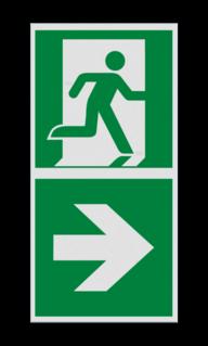 Product Nooduitgang rechts met pijl Haaks bord E002 - Nooduitgang rechts met pijl E002 Nooduitgang, vluchtroute, route, deur, rechts, vluchtroutebord, reddingsmiddelbord, evacuatie, evaluatiebord