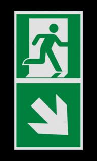 Product Nooduitgang rechts beneden met pijl Haaks bord E002 - Nooduitgang rechts naar beneden met pijl Nooduitgang, vluchtroute, route, deur, rechts, vluchtroutebord, reddingsmiddelbord, evacuatie, evaluatiebord