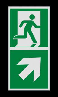 Product Nooduitgang rechts boven met pijl Haaks bord E002 - Nooduitgang rechts naar boven met pijl Nooduitgang, vluchtroute, route, deur, rechts, vluchtroutebord, reddingsmiddelbord, evacuatie, evaluatiebord