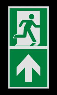 Product Nooduitgang rechtdoor met pijl Haaks bord E002 - Nooduitgang rechtdoor met pijl E002 Nooduitgang, vluchtroute, route, deur, rechts, vluchtroutebord, reddingsmiddelbord, evacuatie, evaluatiebord