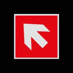 Product Richting Hulpmiddelen Haaks bord F000 - Pijl Links naar boven F000 Brand, trap, locatie, vuur, blussen, vluchten, brandblusapparaat, blusmiddel, Blusapparaatpicto, Brandbestrijdingsteken, brandbestrijdingspicto, poederblusser, schuimblusser, Koolzuursneeuwblusser