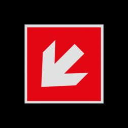 Product Richting Hulpmiddelen Haaks bord F000 - Pijl Links naar beneden F000 Brand, trap, locatie, vuur, blussen, vluchten, brandblusapparaat, blusmiddel, Blusapparaatpicto, Brandbestrijdingsteken, brandbestrijdingspicto, poederblusser, schuimblusser, Koolzuursneeuwblusser