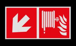 Product Blusslang verwijzing Haaks bord F002 - Richting Blusslang F002 Brand, trap, locatie, vuur, blussen, vluchten, brandblusapparaat, blusmiddel, Blusapparaatpicto, Brandbestrijdingsteken, brandbestrijdingspicto, poederblusser, schuimblusser, Koolzuursneeuwblusser