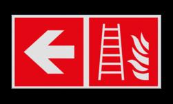Product Ladder verwijzing Haaks bord F003 - Richting Ladder F003 Brand, trap, locatie, vuur, blussen, vluchten, brandblusapparaat, blusmiddel, Blusapparaatpicto, Brandbestrijdingsteken, brandbestrijdingspicto, poederblusser, schuimblusser, Koolzuursneeuwblusser