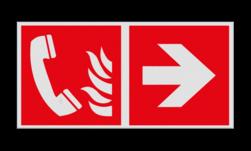 Product Telefoon voor brandalarm verwijzing Haaks bord F006 - Richting Telefoon voor brandalarm F006 Brand, trap, locatie, vuur, blussen, vluchten, brandblusapparaat, blusmiddel, Blusapparaatpicto, Brandbestrijdingsteken, brandbestrijdingspicto, poederblusser, schuimblusser, Koolzuursneeuwblusser