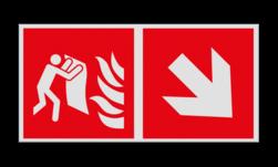 Product Brandblusdeken verwijzing Haaks bord F016 - Richting Brandblusdeken F016 Brand, trap, locatie, vuur, blussen, vluchten, brandblusapparaat, blusmiddel, Blusapparaatpicto, Brandbestrijdingsteken, brandbestrijdingspicto, poederblusser, schuimblusser, Koolzuursneeuwblusser