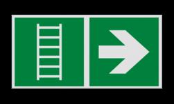 Product Vluchtladder verwijzing Haaks bord E059 - Vluchtladder verwijzing Nooduitgang, vluchtroute, route, deur, rechts, vluchtroutebord, reddingsmiddelbord, evacuatie, evaluatiebord