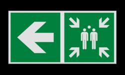 Product Verzamelplaats verwijzing links Haaks bord E007 - Verzamelplaats verwijzing E007 Vlucht, Vluchtroute, verzamelplaats, verzamelbord, verzamelen, calamiteiten, BHV, verzamelpunt, Eigen Terrein, BT34, vluchtroutebord, reddingsmiddelbord, evacuatie, evaluatiebord