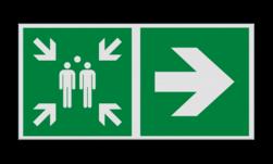 Product Verzamelplaats verwijzing rechtdoor Haaks bord E007 - Verzamelplaats verwijzing E007 Vlucht, Vluchtroute, verzamelplaats, verzamelbord, verzamelen, calamiteiten, BHV, verzamelpunt, Eigen Terrein, BT34, vluchtroutebord, reddingsmiddelbord, evacuatie, evaluatiebord