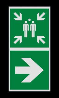 Product Verzamelplaats verwijzing rechts Haaks bord E007 - Verzamelplaats verwijzing E007 Vlucht, Vluchtroute, verzamelplaats, verzamelbord, verzamelen, calamiteiten, BHV, verzamelpunt, Eigen Terrein, BT34, vluchtroutebord, reddingsmiddelbord, evacuatie, evaluatiebord
