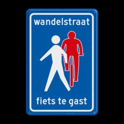 Verkeersbord Wandelstraat, fietsers te gast Verkeersbord RVV L54b - Wandelstraat L54b Wandelstraat, fiets, gast, fietsers