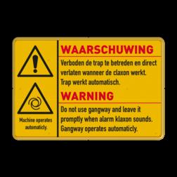 Waarschuwingsbord 3:2 geel/zwart W001 - 2 talig persoonlijke beschermingsmiddelen, logobord, eigen ontwerp, landgoed, zonsopgang, zonsondergang, speciale borden, toegangsbord
