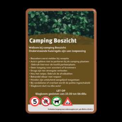Informatiebord huisregels voor camping en recreatieparken huisregelbord, regelbord, camping, vakantiepark, recreatie, toerisme, spelregel, informatiebord