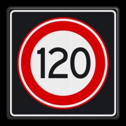 Verkeersbord Maximum toegestane snelheid 120 kilometer per uur Verkeersbord RVV A01 120s - Maximum snelheid 120 km/h A01120s RWS, Rijkswaterstaat, snelheidsbord, snelheidbord, 120 km bord, snelheid, A1, maximumsnelheid, maximum snelheid, maximalesnelheid, maximale snelheid