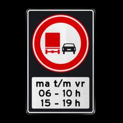 Verkeersbord Verbod voor vrachtauto's om motorvoertuigen in te halen tussen 06 en 10 uur en tussen 15 en 19 uur. Verkeersbord RVV F03 OB206p2s - Inhaalverbod vrachtauto's F03OB206p2s RWS, Rijkswaterstaat, inhalen, vrachtwagen, vrachtwagens, voorbij rijden tijdsvak, tijdszone