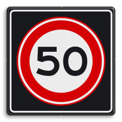 Verkeersbord Maximum toegestane snelheid 50 kilometer per uur Verkeersbord RVV A01 50s - Maximum snelheid 50 km/h A0150s Provinciale weg, snelheidsbord, snelheidbord, 80 km bord, snelheid, A1, maximumsnelheid, maximum snelheid, maximalesnelheid, maximale snelheid