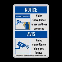 Veiligheidsbord | 2 symbolen + banners + tekst Informatie, veiligheid, bord, geen, toegang, verboden, onbevoegden, camera, video, bewaking, art, 461, 24/7