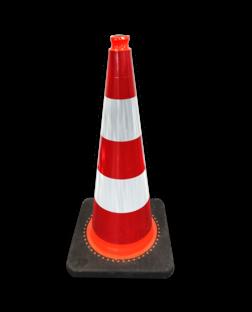 Verkeerskegel 75 cm reflecterend - Officiële verkeerskegel Nederland pion, pionnen, kegels, pilon, oranje, hoedje, verkeerskegel, afzetkegel, pylon